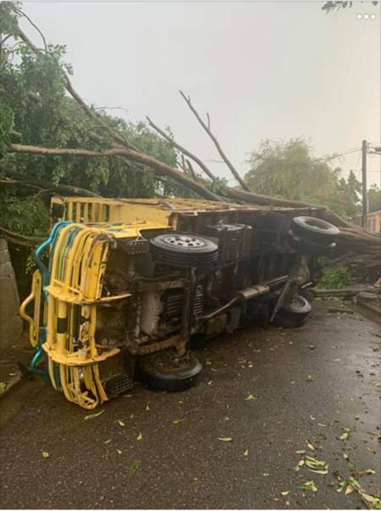 Tornado derriba árboles casa y vehículo en Mao1