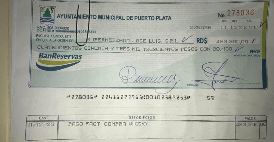 cheque alcaldia Puerto Plata para whisky