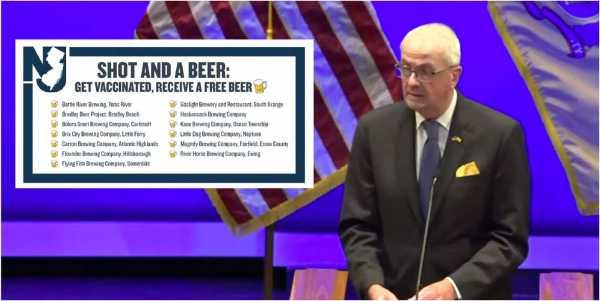 Phil Murphy Gobernador de Nueva Jersey ofrece cervezas